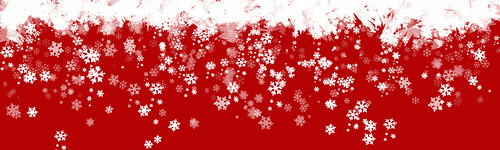 red snowflake banner